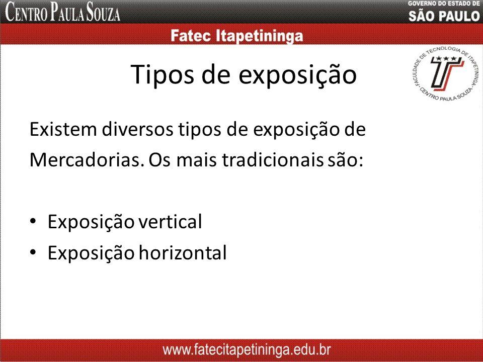 Tipos de exposição Existem diversos tipos de exposição de Mercadorias. Os mais tradicionais são: Exposição vertical Exposição horizontal