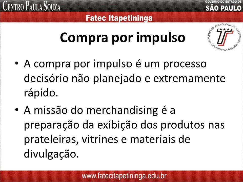 Compra por impulso A compra por impulso é um processo decisório não planejado e extremamente rápido. A missão do merchandising é a preparação da exibi