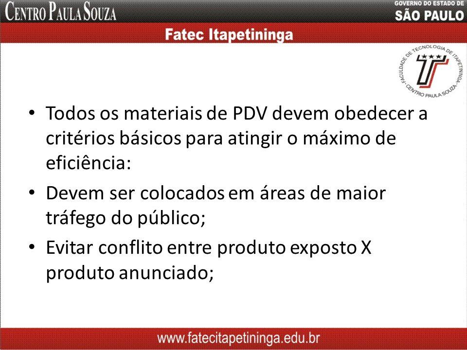 Todos os materiais de PDV devem obedecer a critérios básicos para atingir o máximo de eficiência: Devem ser colocados em áreas de maior tráfego do púb
