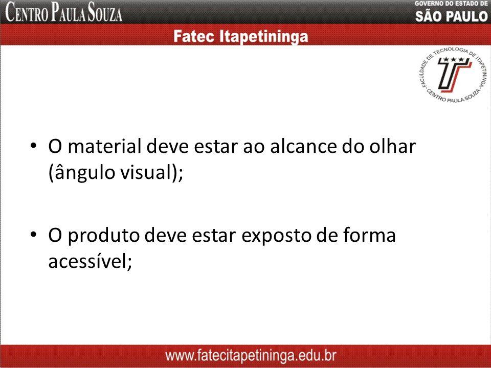 O material deve estar ao alcance do olhar (ângulo visual); O produto deve estar exposto de forma acessível;