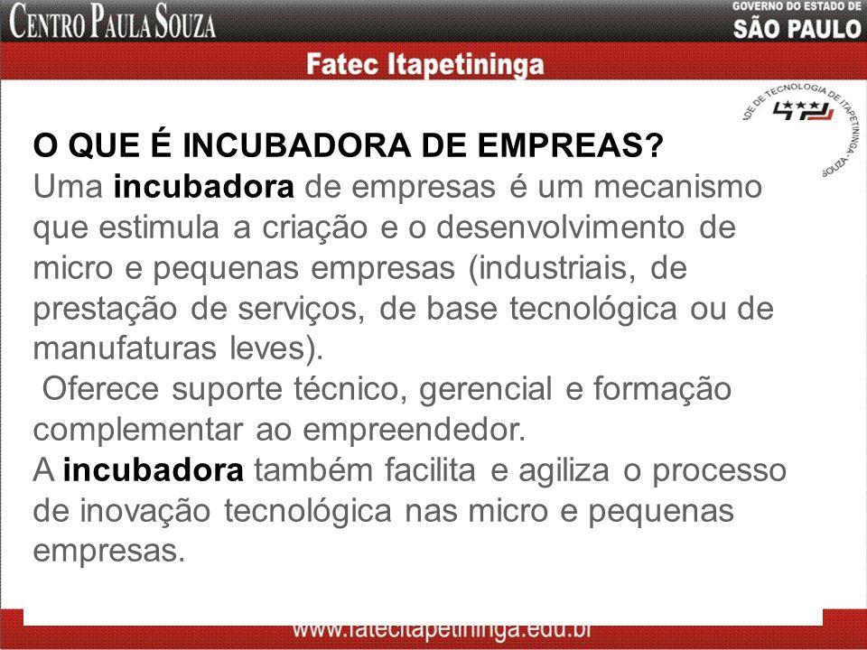 O QUE É INCUBADORA DE EMPREAS? Uma incubadora de empresas é um mecanismo que estimula a criação e o desenvolvimento de micro e pequenas empresas (indu