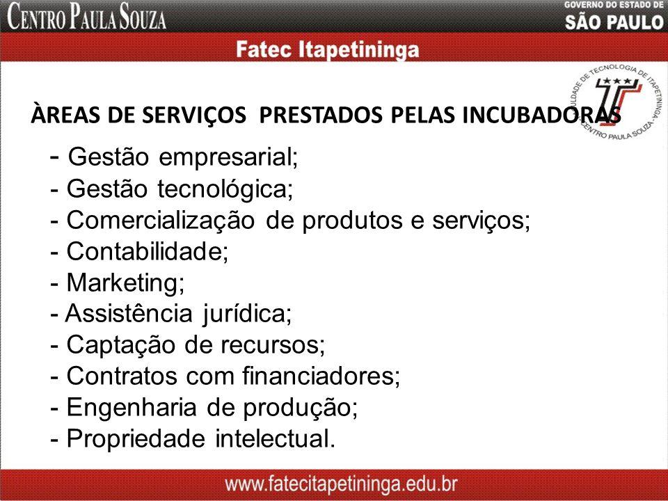 ÀREAS DE SERVIÇOS PRESTADOS PELAS INCUBADORAS - Gestão empresarial; - Gestão tecnológica; - Comercialização de produtos e serviços; - Contabilidade; -