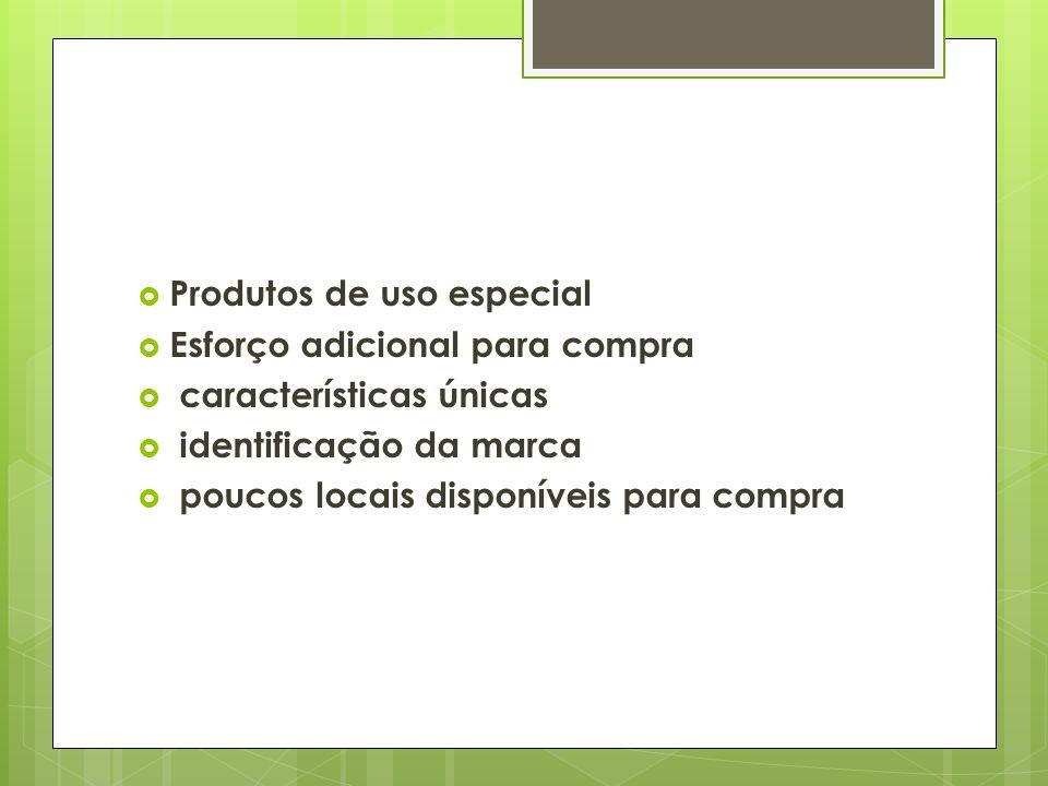 Produtos de uso especial Esforço adicional para compra características únicas identificação da marca poucos locais disponíveis para compra