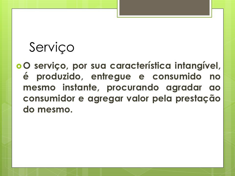 Serviço O serviço, por sua característica intangível, é produzido, entregue e consumido no mesmo instante, procurando agradar ao consumidor e agregar