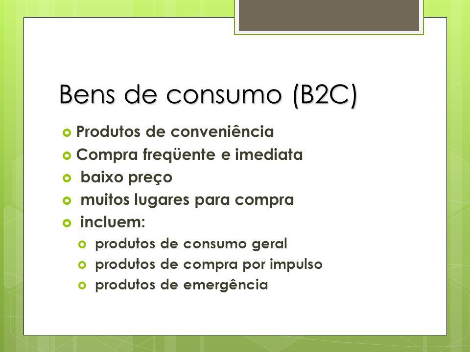 Bens de consumo (B2C) Produtos de conveniência Compra freqüente e imediata baixo preço muitos lugares para compra incluem: produtos de consumo geral p