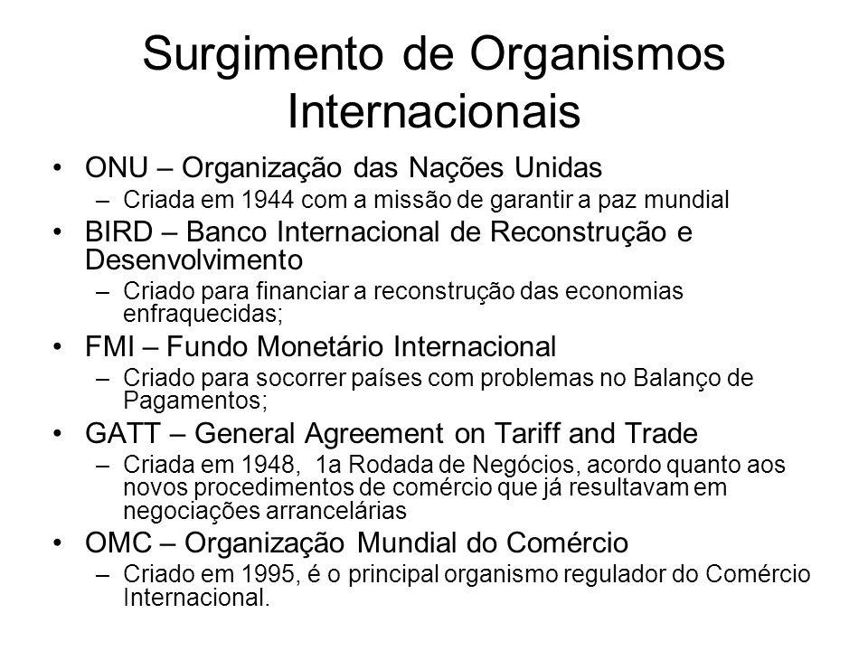 Surgimento de Organismos Internacionais ONU – Organização das Nações Unidas –Criada em 1944 com a missão de garantir a paz mundial BIRD – Banco Intern