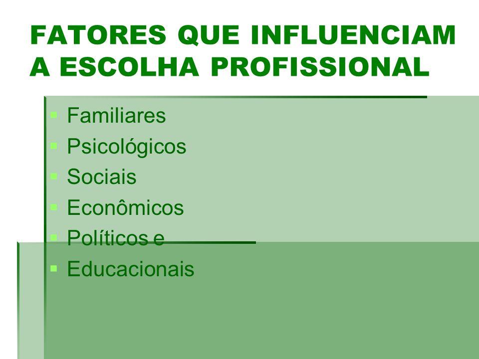 FATORES QUE INFLUENCIAM A ESCOLHA PROFISSIONAL Familiares Psicológicos Sociais Econômicos Políticos e Educacionais