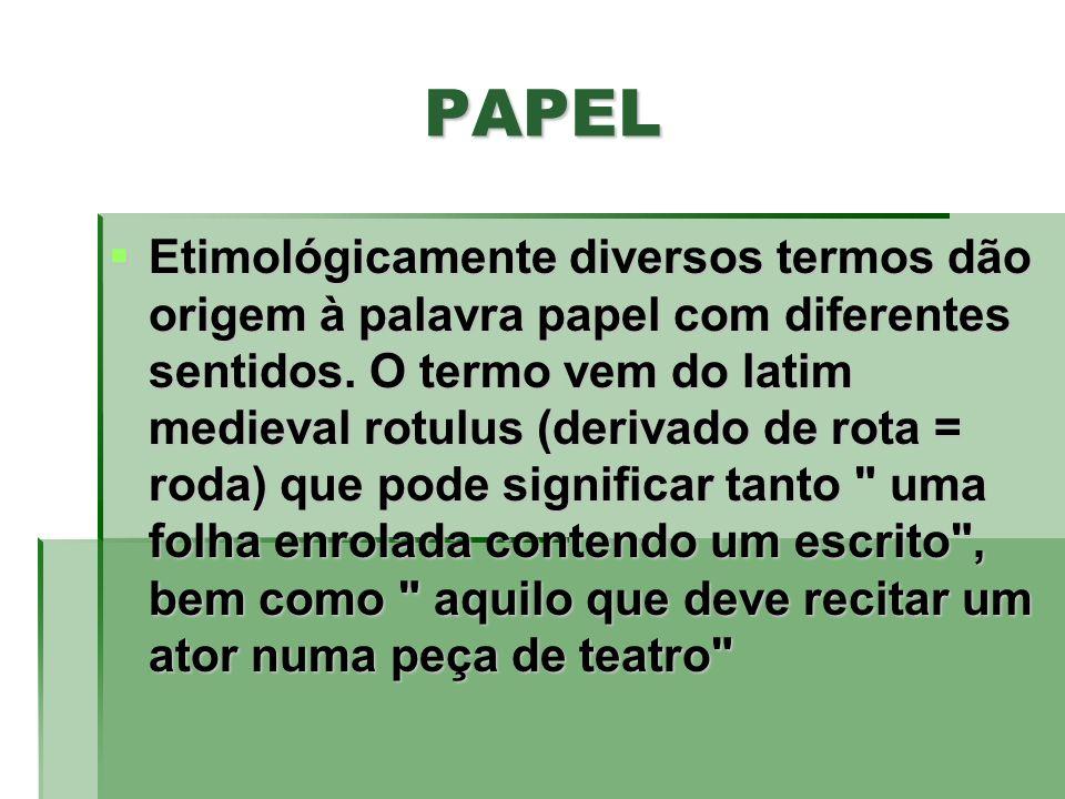 PAPEL Etimológicamente diversos termos dão origem à palavra papel com diferentes sentidos. O termo vem do latim medieval rotulus (derivado de rota = r