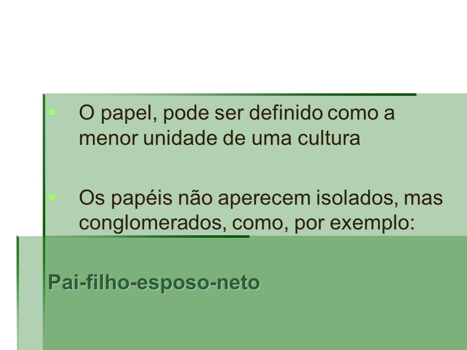 O papel, pode ser definido como a menor unidade de uma cultura O papel, pode ser definido como a menor unidade de uma cultura Os papéis não aperecem i