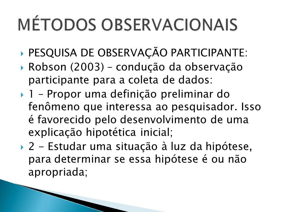 PESQUISA DE OBSERVAÇÃO PARTICIPANTE: Robson (2003) – condução da observação participante para a coleta de dados: 1 – Propor uma definição preliminar do fenômeno que interessa ao pesquisador.