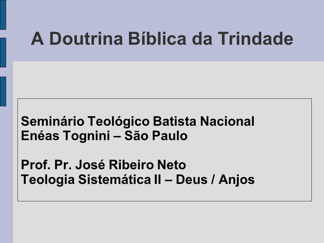 A Doutrina Bíblica da Trindade Seminário Teológico Batista Nacional Enéas Tognini – São Paulo Prof. Pr. José Ribeiro Neto Teologia Sistemática II – De