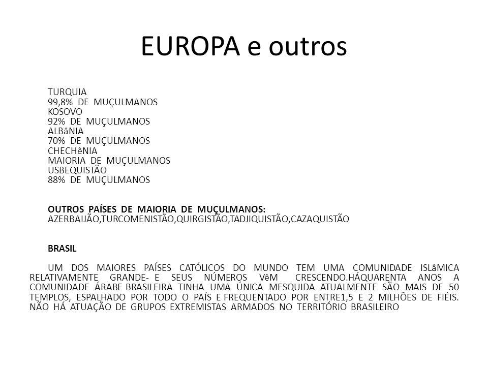 EUROPA e outros TURQUIA 99,8% DE MUÇULMANOS KOSOVO 92% DE MUÇULMANOS ALBâNIA 70% DE MUÇULMANOS CHECHêNIA MAIORIA DE MUÇULMANOS USBEQUISTÃO 88% DE MUÇU