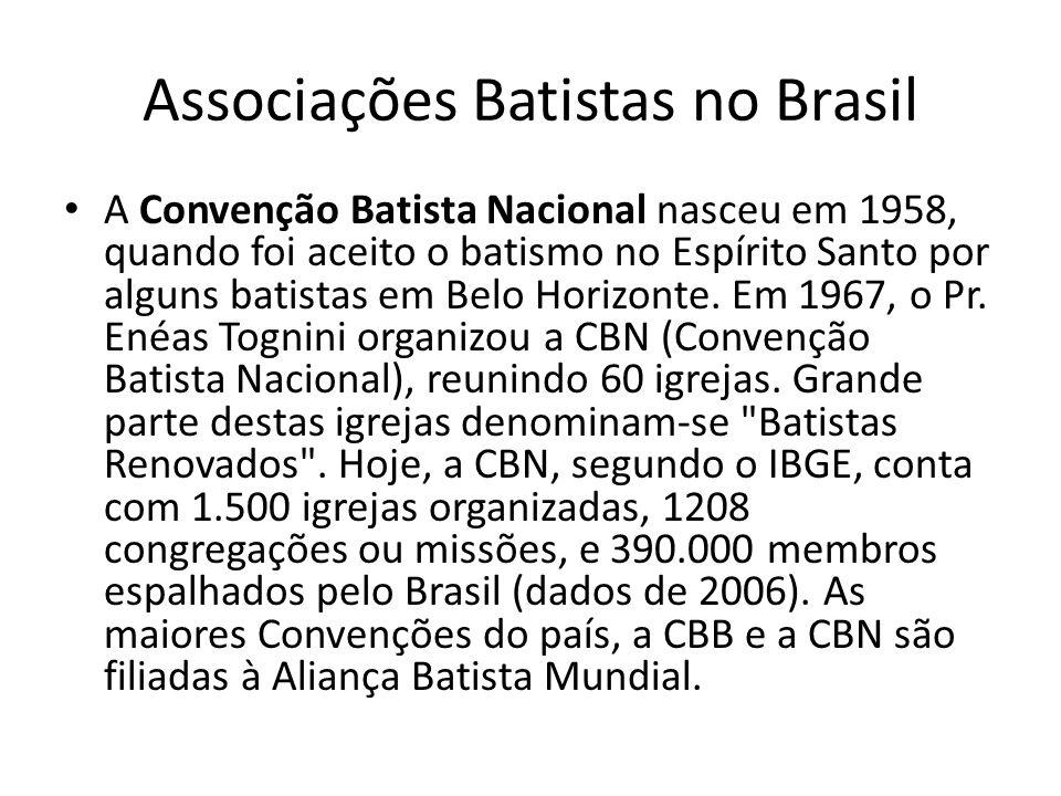 Associações Batistas no Brasil A Convenção Batista Nacional nasceu em 1958, quando foi aceito o batismo no Espírito Santo por alguns batistas em Belo