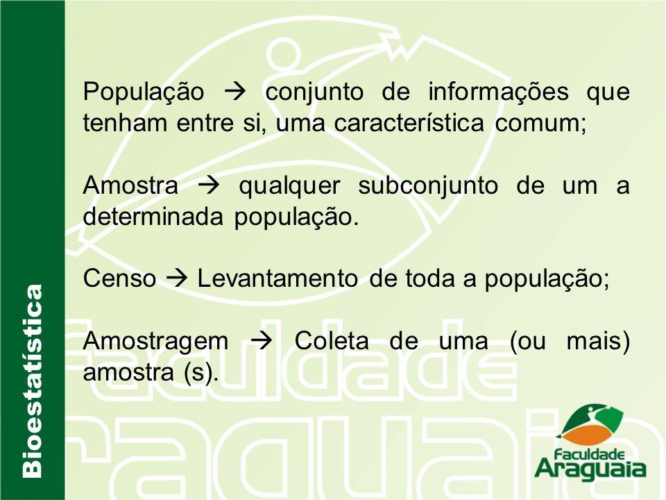 Bioestatística População conjunto de informações que tenham entre si, uma característica comum; Amostra qualquer subconjunto de um a determinada popul