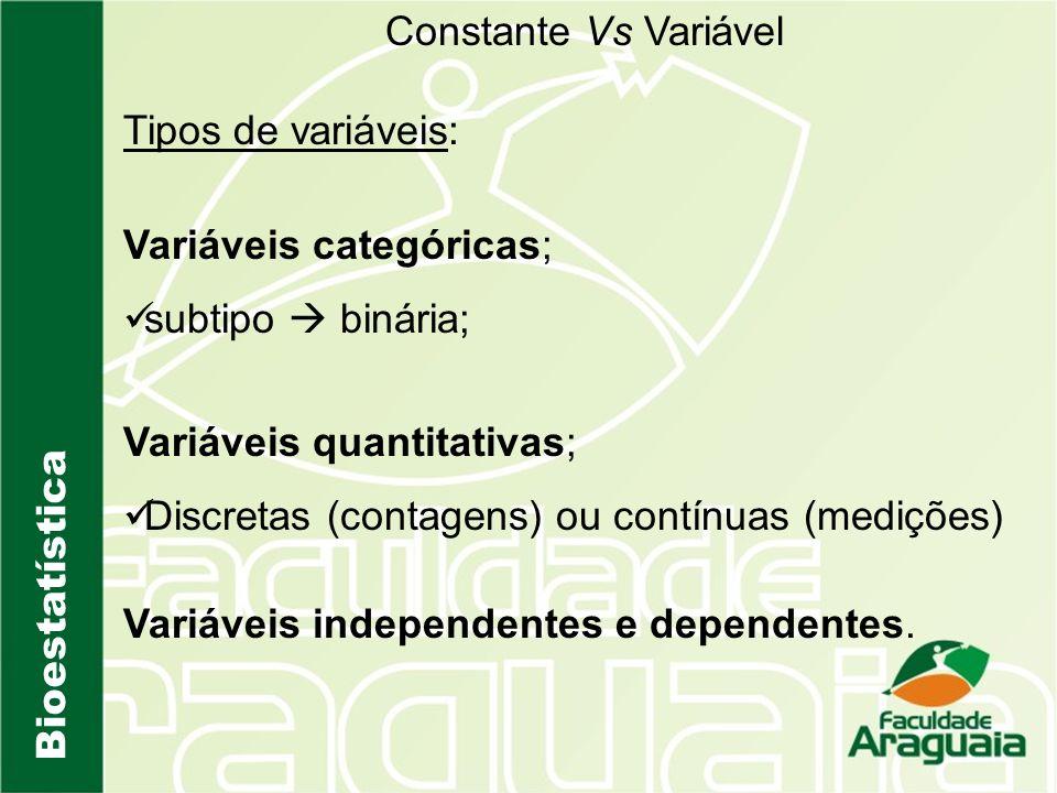 Bioestatística Constante Vs Variável Tipos de variáveis: Variáveis categóricas; subtipo binária; Variáveis quantitativas; Discretas (contagens) ou con