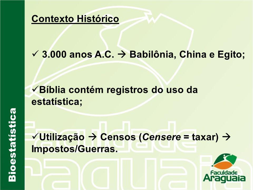 Bioestatística Contexto Histórico 3.000 anos A.C. Babilônia, China e Egito; Bíblia contém registros do uso da estatística; Utilização Censos (Censere