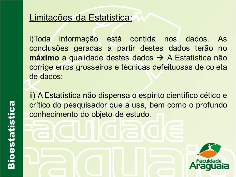 Bioestatística Limitações da Estatística: i)Toda informação está contida nos dados. As conclusões geradas a partir destes dados terão no máximo a qual