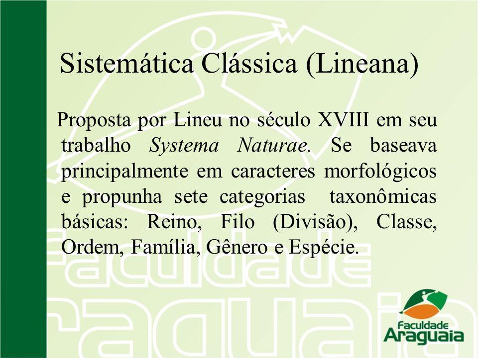 Sistemática Clássica (Lineana) Proposta por Lineu no século XVIII em seu trabalho Systema Naturae. Se baseava principalmente em caracteres morfológico