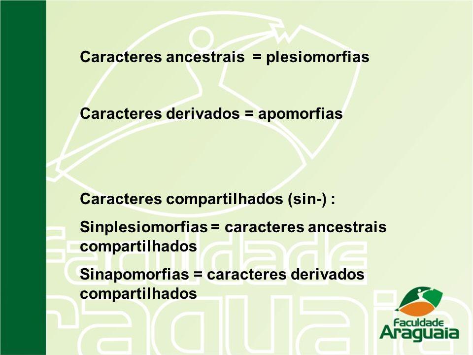 Caracteres ancestrais = plesiomorfias Caracteres derivados = apomorfias Caracteres compartilhados (sin-) : Sinplesiomorfias = caracteres ancestrais co