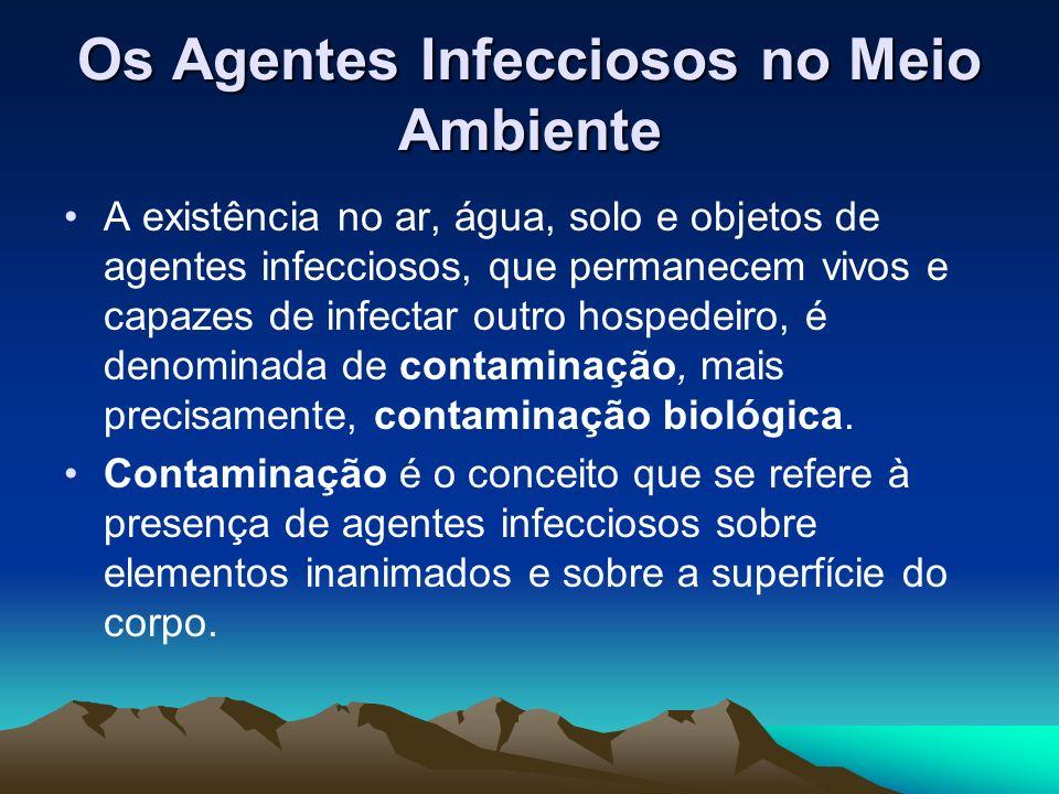 Os Agentes Infecciosos no Meio Ambiente A existência no ar, água, solo e objetos de agentes infecciosos, que permanecem vivos e capazes de infectar ou