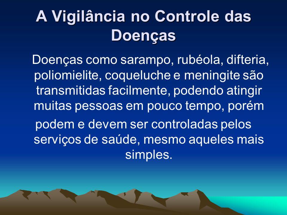 A Vigilância no Controle das Doenças Doenças como sarampo, rubéola, difteria, poliomielite, coqueluche e meningite são transmitidas facilmente, podend