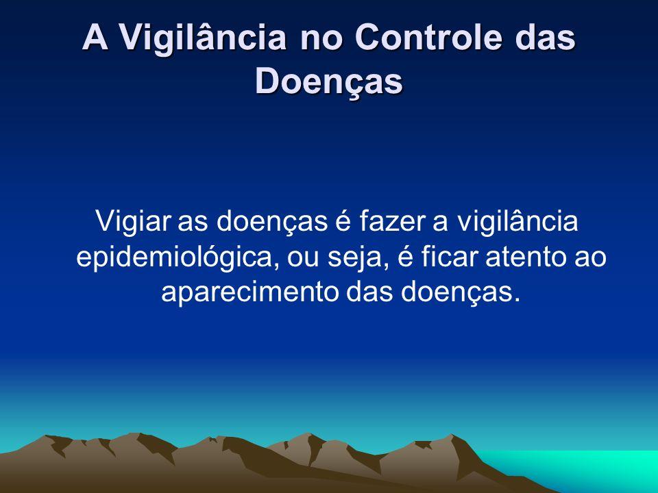 A Vigilância no Controle das Doenças Vigiar as doenças é fazer a vigilância epidemiológica, ou seja, é ficar atento ao aparecimento das doenças.