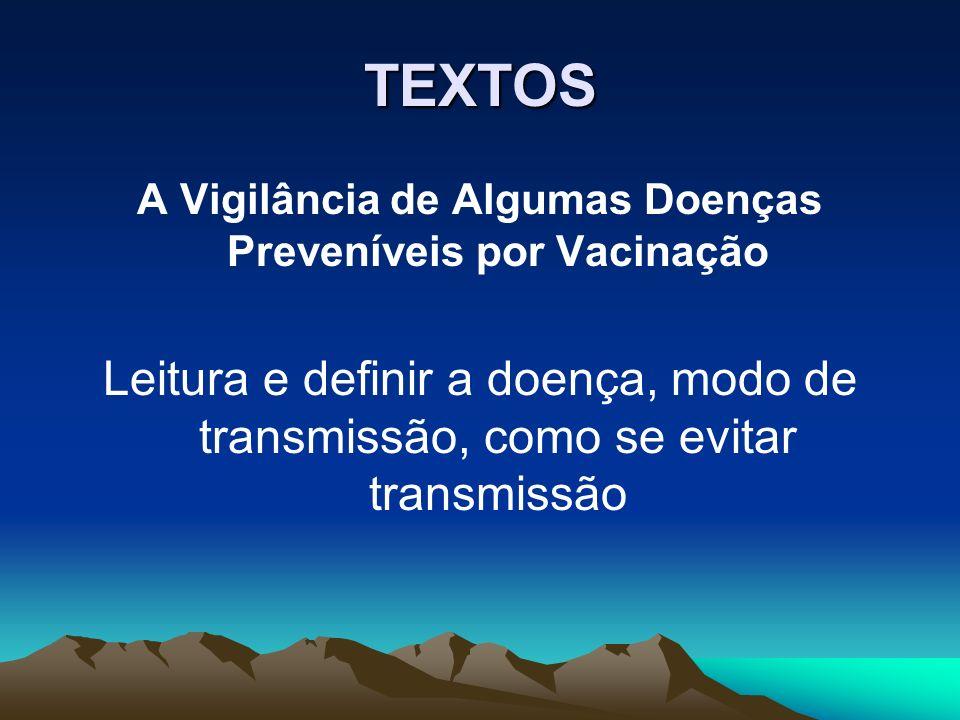 TEXTOS A Vigilância de Algumas Doenças Preveníveis por Vacinação Leitura e definir a doença, modo de transmissão, como se evitar transmissão