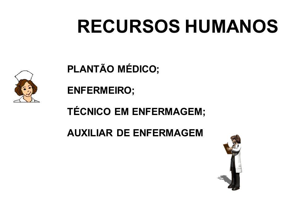 RECURSOS HUMANOS PLANTÃO MÉDICO; ENFERMEIRO; TÉCNICO EM ENFERMAGEM; AUXILIAR DE ENFERMAGEM