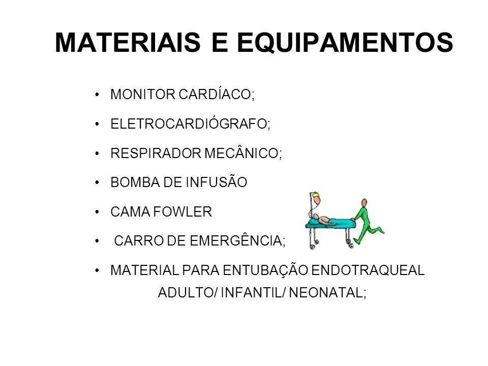 MATERIAIS E EQUIPAMENTOS MONITOR CARDÍACO; ELETROCARDIÓGRAFO; RESPIRADOR MECÂNICO; BOMBA DE INFUSÃO CAMA FOWLER CARRO DE EMERGÊNCIA; MATERIAL PARA ENT