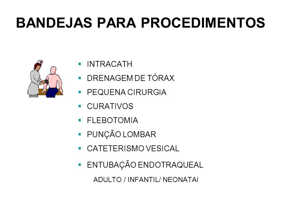 BANDEJAS PARA PROCEDIMENTOS INTRACATH DRENAGEM DE TÓRAX PEQUENA CIRURGIA CURATIVOS FLEBOTOMIA PUNÇÃO LOMBAR CATETERISMO VESICAL ENTUBAÇÃO ENDOTRAQUEAL