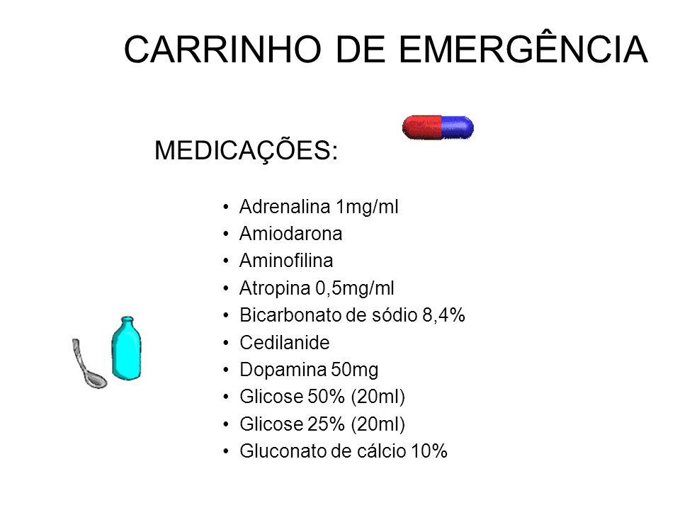 CARRINHO DE EMERGÊNCIA MEDICAÇÕES: Adrenalina 1mg/ml Amiodarona Aminofilina Atropina 0,5mg/ml Bicarbonato de sódio 8,4% Cedilanide Dopamina 50mg Glico