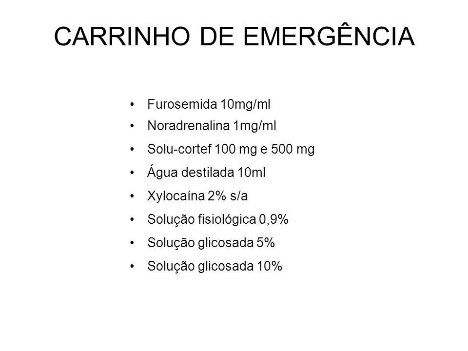 CARRINHO DE EMERGÊNCIA Furosemida 10mg/ml Noradrenalina 1mg/ml Solu-cortef 100 mg e 500 mg Água destilada 10ml Xylocaína 2% s/a Solução fisiológica 0,