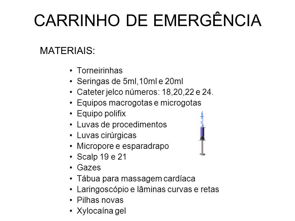 CARRINHO DE EMERGÊNCIA MATERIAIS: Torneirinhas Seringas de 5ml,10ml e 20ml Cateter jelco números: 18,20,22 e 24. Equipos macrogotas e microgotas Equip