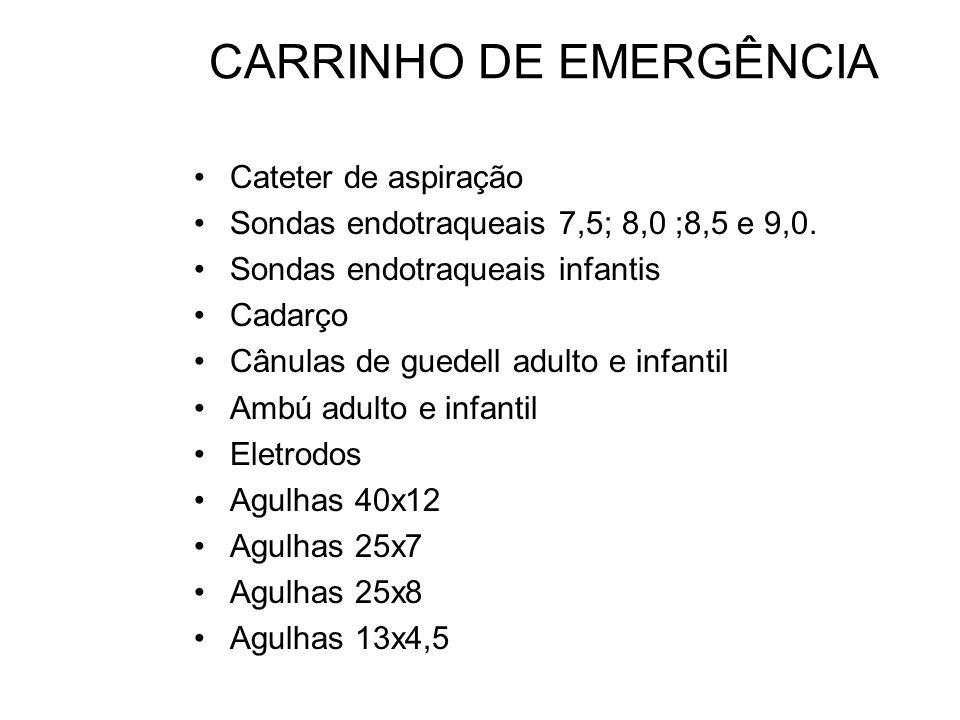 CARRINHO DE EMERGÊNCIA Cateter de aspiração Sondas endotraqueais 7,5; 8,0 ;8,5 e 9,0. Sondas endotraqueais infantis Cadarço Cânulas de guedell adulto