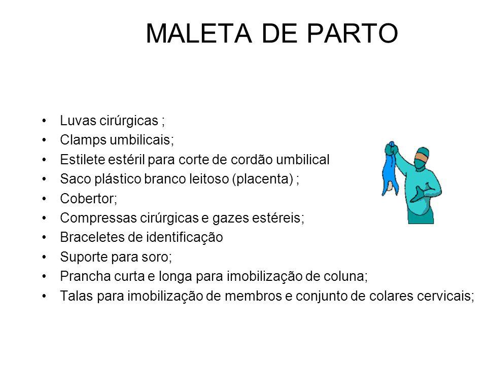 MALETA DE PARTO Luvas cirúrgicas ; Clamps umbilicais; Estilete estéril para corte de cordão umbilical Saco plástico branco leitoso (placenta) ; Cobert