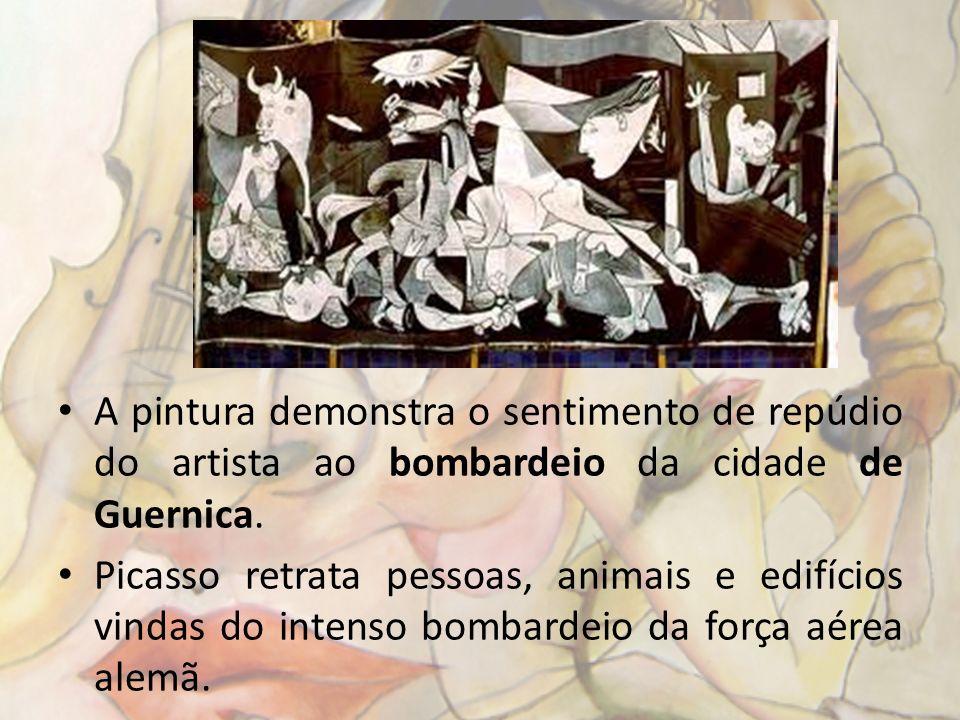 A pintura demonstra o sentimento de repúdio do artista ao bombardeio da cidade de Guernica. Picasso retrata pessoas, animais e edifícios vindas do int