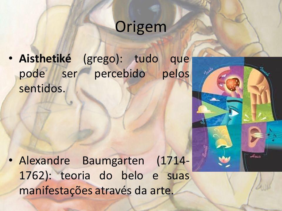 Origem Aisthetiké (grego): tudo que pode ser percebido pelos sentidos. Alexandre Baumgarten (1714- 1762): teoria do belo e suas manifestações através