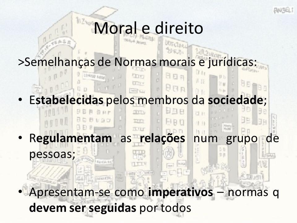 Moral e direito >Semelhanças de Normas morais e jurídicas: Estabelecidas pelos membros da sociedade; Regulamentam as relações num grupo de pessoas; Ap