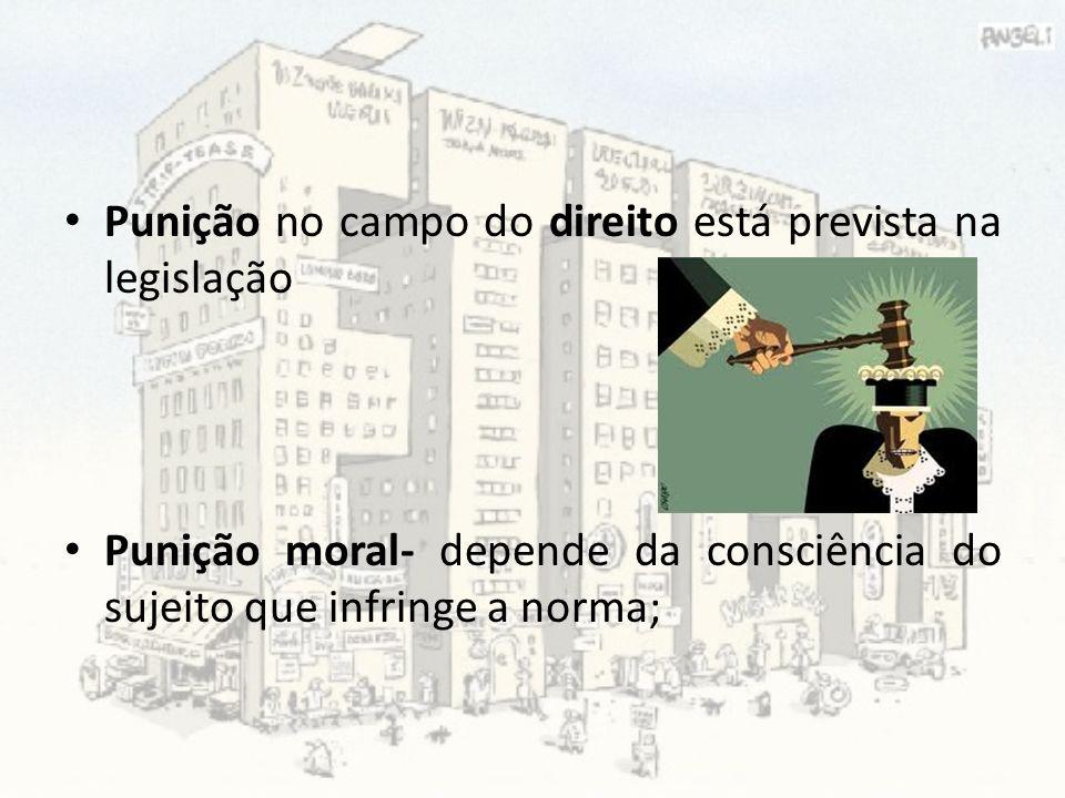 Punição no campo do direito está prevista na legislação Punição moral- depende da consciência do sujeito que infringe a norma;