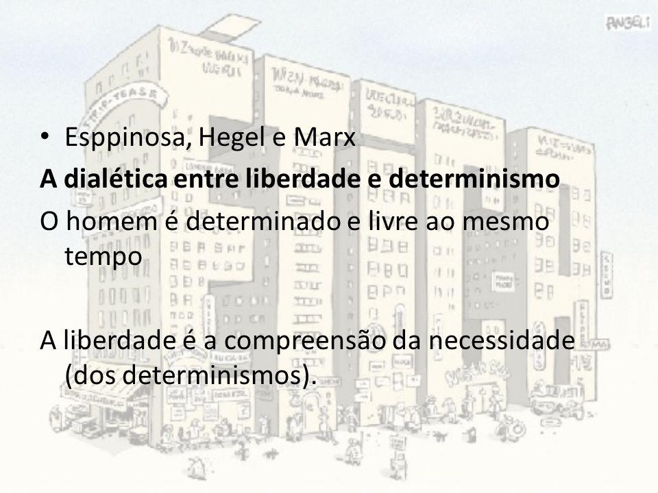 Esppinosa, Hegel e Marx A dialética entre liberdade e determinismo O homem é determinado e livre ao mesmo tempo A liberdade é a compreensão da necessi