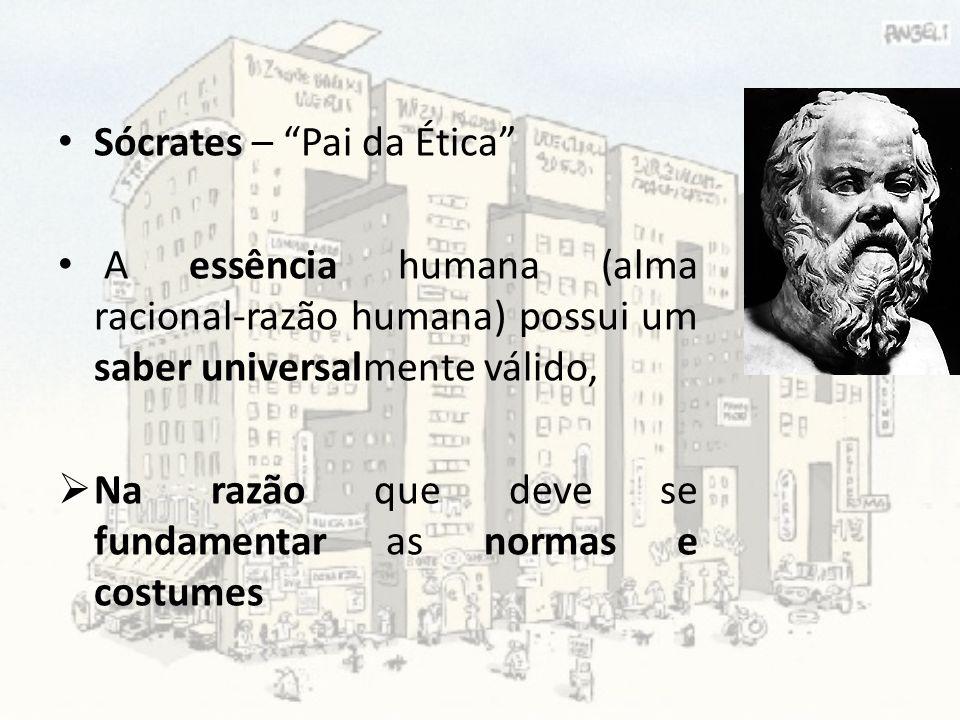 Sócrates – Pai da Ética A essência humana (alma racional-razão humana) possui um saber universalmente válido, Na razão que deve se fundamentar as norm