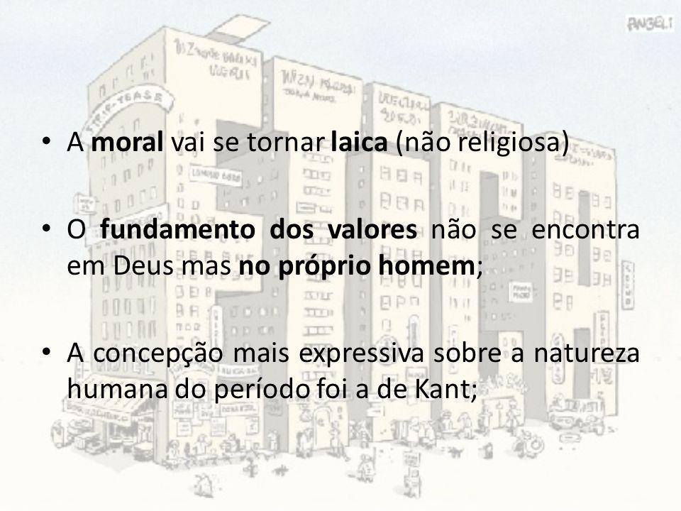 A moral vai se tornar laica (não religiosa) O fundamento dos valores não se encontra em Deus mas no próprio homem; A concepção mais expressiva sobre a
