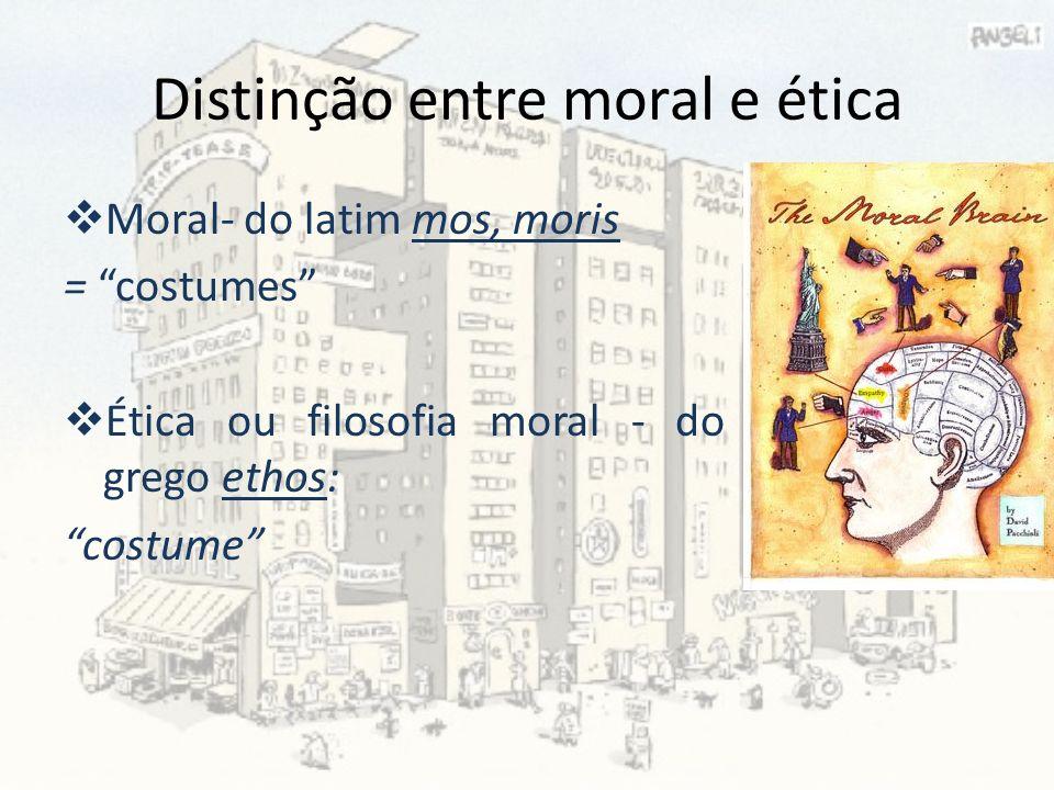 Distinção entre moral e ética Moral- do latim mos, moris = costumes Ética ou filosofia moral - do grego ethos: costume