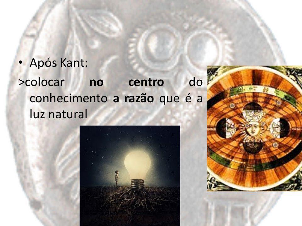 Após Kant: >colocar no centro do conhecimento a razão que é a luz natural