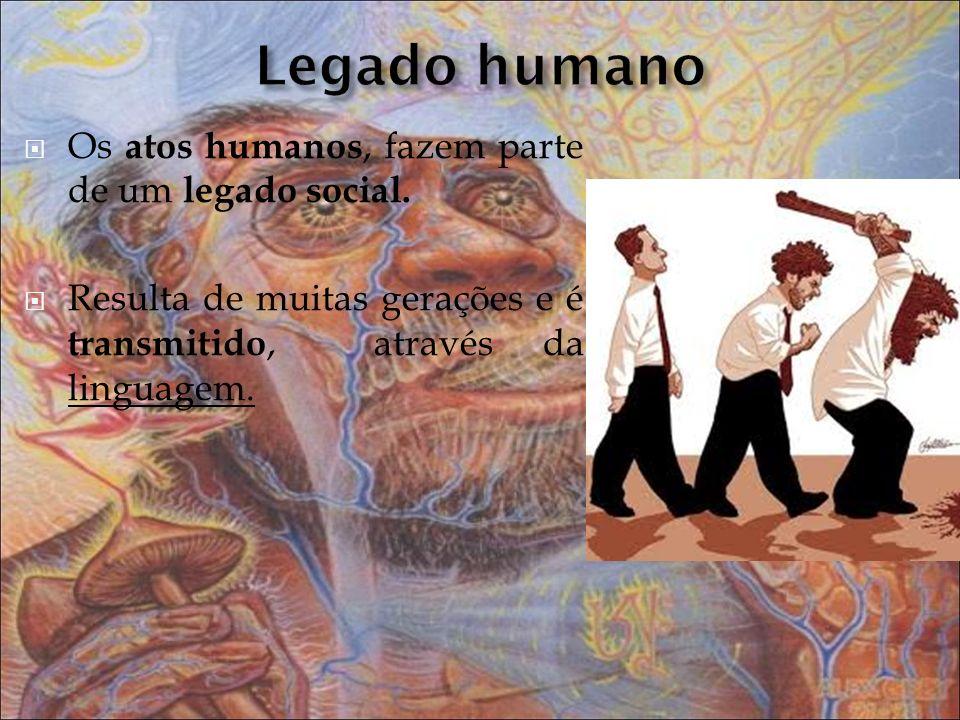 Os atos humanos, fazem parte de um legado social. Resulta de muitas gerações e é transmitido, através da linguagem.