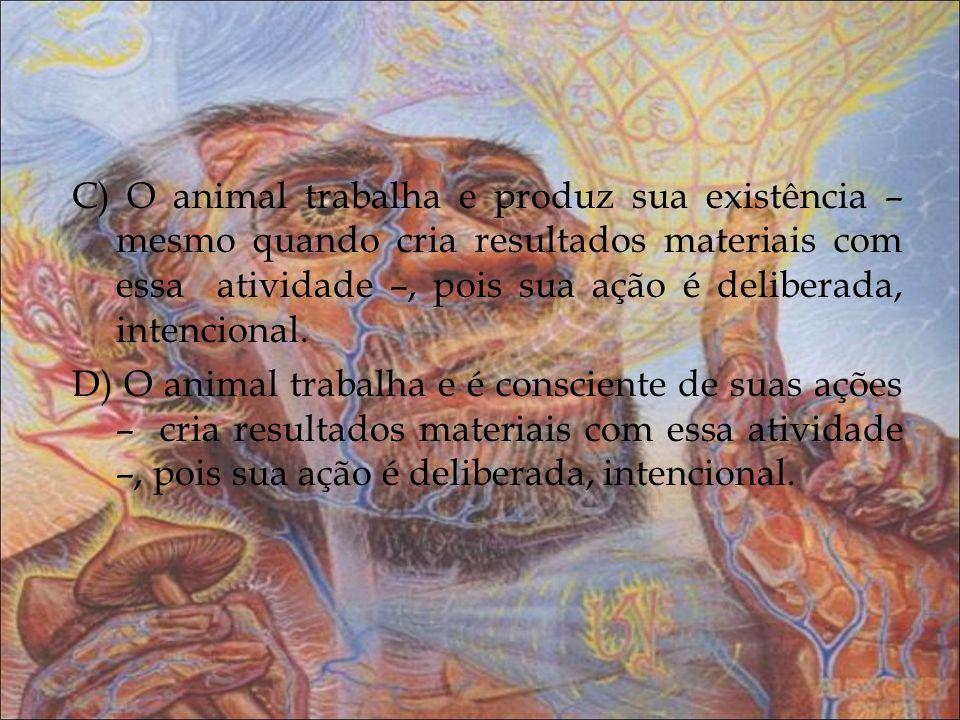 C) O animal trabalha e produz sua existência – mesmo quando cria resultados materiais com essa atividade –, pois sua ação é deliberada, intencional. D