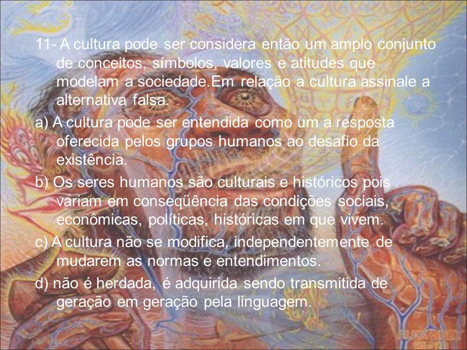 11- A cultura pode ser considera então um amplo conjunto de conceitos, símbolos, valores e atitudes que modelam a sociedade.Em relação a cultura assin