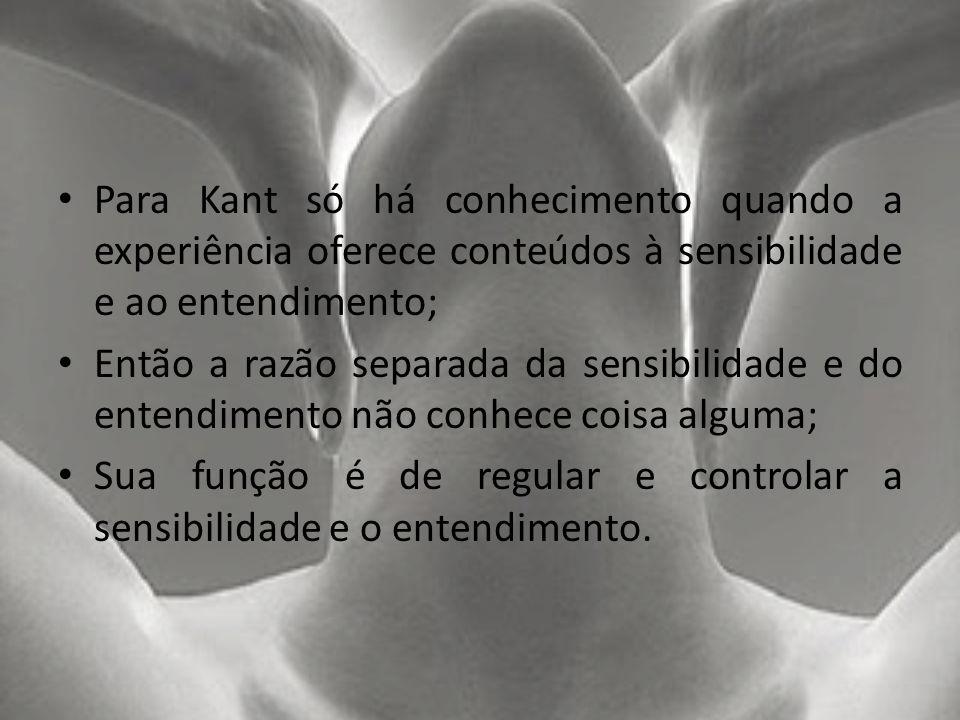 Para Kant só há conhecimento quando a experiência oferece conteúdos à sensibilidade e ao entendimento; Então a razão separada da sensibilidade e do en