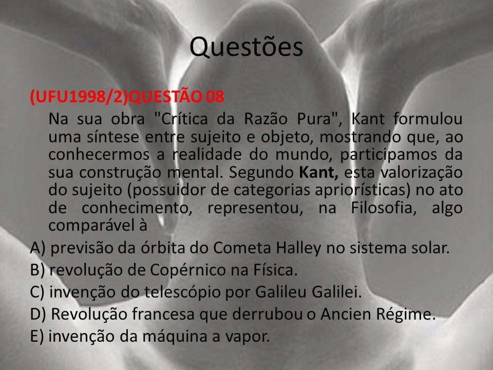 Questões (UFU1998/2)QUESTÃO 08 Na sua obra