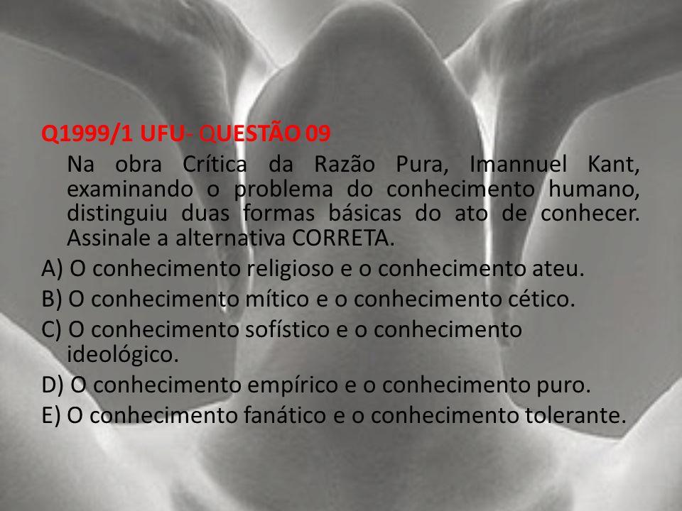 Q1999/1 UFU- QUESTÃO 09 Na obra Crítica da Razão Pura, Imannuel Kant, examinando o problema do conhecimento humano, distinguiu duas formas básicas do